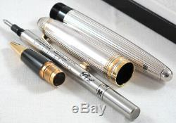 Bnib Montblanc Meisterstuck Silver Solitaire Le Grand Pinstripe Rollerball Pen