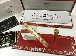 Cartier Les Must Vendome gold plated checked rollerball pen + box + papers