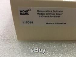 MONTBLANC MST SOLITAIRE MARTELE SILVER LeGRAND 162 ROLLERBALL PEN #115098-SEALED