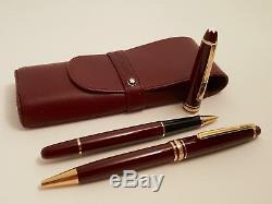 MONTBLANC Meisterstuck Burgundy 163 Rollerball Pen + 164 Ballpoint Pen with Pouch