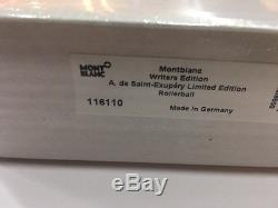 MONTBLANC WRITERS EDTN 2017 ANTOINE de S. EXUPERY ROLLERBALL PEN #116110- SEALED