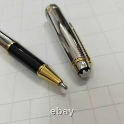 Mont Blanc Solitaire Shiny Silver Resin Gold Trim Classique Rollerball Pen