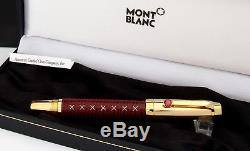 MontBlanc Boheme JEWELS 24K Stitches Burgundy leather Rollerball WithRuby -NEW
