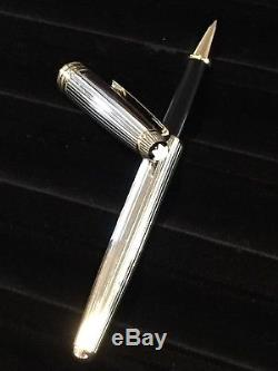 Montblanc Meisterstuck Solitaire Pinstripe Sterling Silver Roller Ball Pen