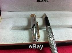 Montblanc Meisterstuck Sterling Silver Pinstripe Rollerball Pen Authentic