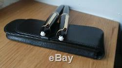 Nm Montblanc Legrand Roller & M166 Document Marker W. Leather Pouch