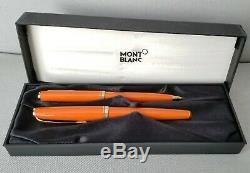 Orange withGold Trim Montblanc Generations Roller Ball Pen & Mechanical Pencil Set